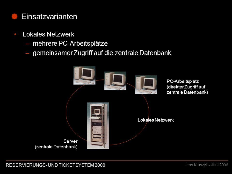 RESERVIERUNGS- UND TICKETSYSTEM 2000 Jens Kruszyk - Juni 2006 Einsatzvarianten Lokales Netzwerk –mehrere PC-Arbeitsplätze –gemeinsamer Zugriff auf die zentrale Datenbank Server (zentrale Datenbank) PC-Arbeitsplatz (direkter Zugriff auf zentrale Datenbank) Lokales Netzwerk