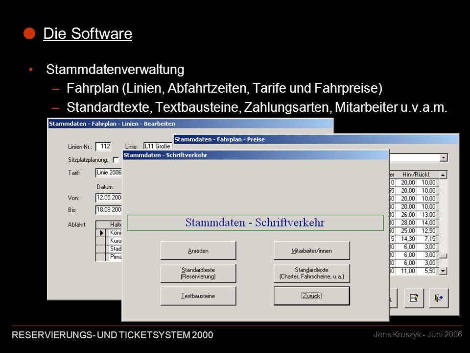 RESERVIERUNGS- UND TICKETSYSTEM 2000 Jens Kruszyk - Juni 2006 Das Projekt Die Sächsische Dampfschiffahrts GmbH & Co.