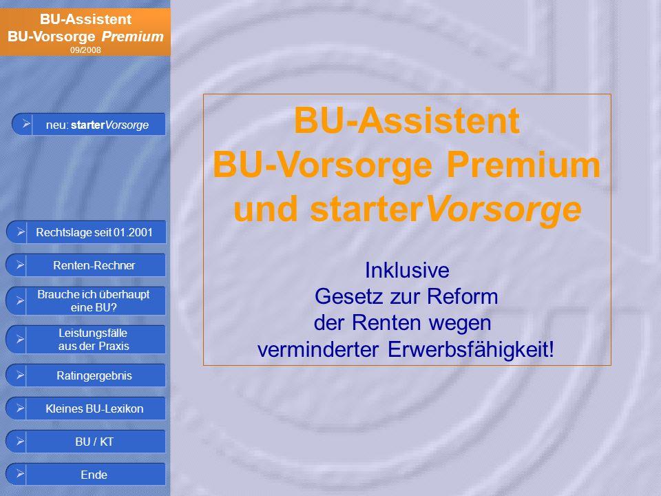 BU-Assistent BU-Vorsorge Premium 09/2008 Ratingergebnis Leistungsfälle aus der Praxis Kleines BU-Lexikon BU / KT Brauche ich überhaupt eine BU? Renten