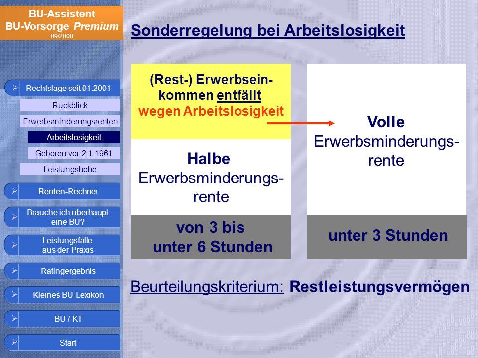 BU-Assistent BU-Vorsorge Premium 09/2008 Halbe Erwerbsminderungs- rente Volle Erwerbsminderungs- rente unter 3 Stunden von 3 bis unter 6 Stunden (Rest