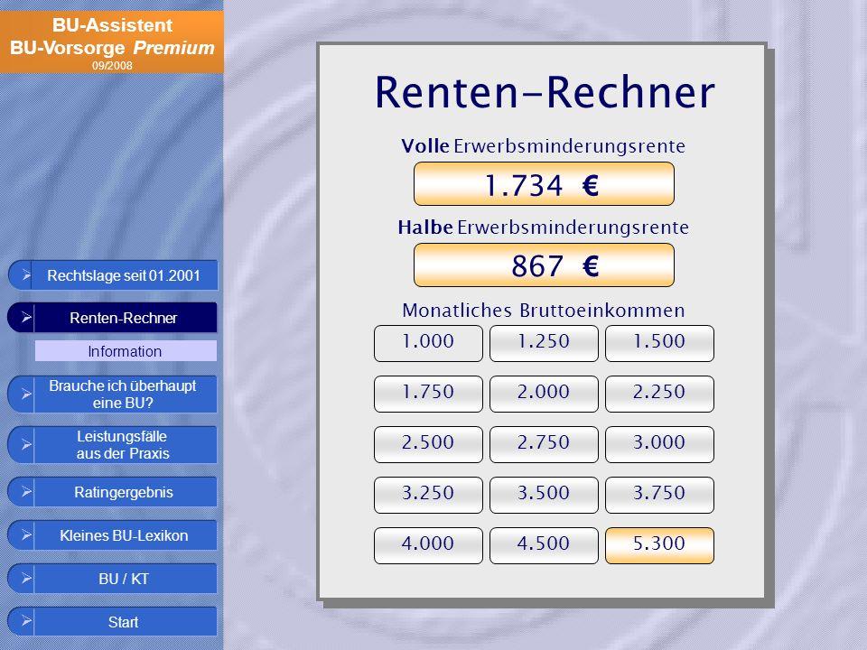 BU-Assistent BU-Vorsorge Premium 09/2008 Renten-Rechner Ratingergebnis Start Leistungsfälle aus der Praxis Kleines BU-Lexikon BU / KT Brauche ich über