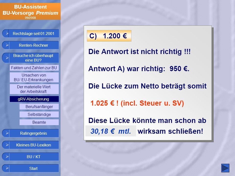 BU-Assistent BU-Vorsorge Premium 09/2008 Die Antwort ist nicht richtig !!! Antwort A) war richtig: 950. Die Lücke zum Netto beträgt somit 1.025 ! (inc