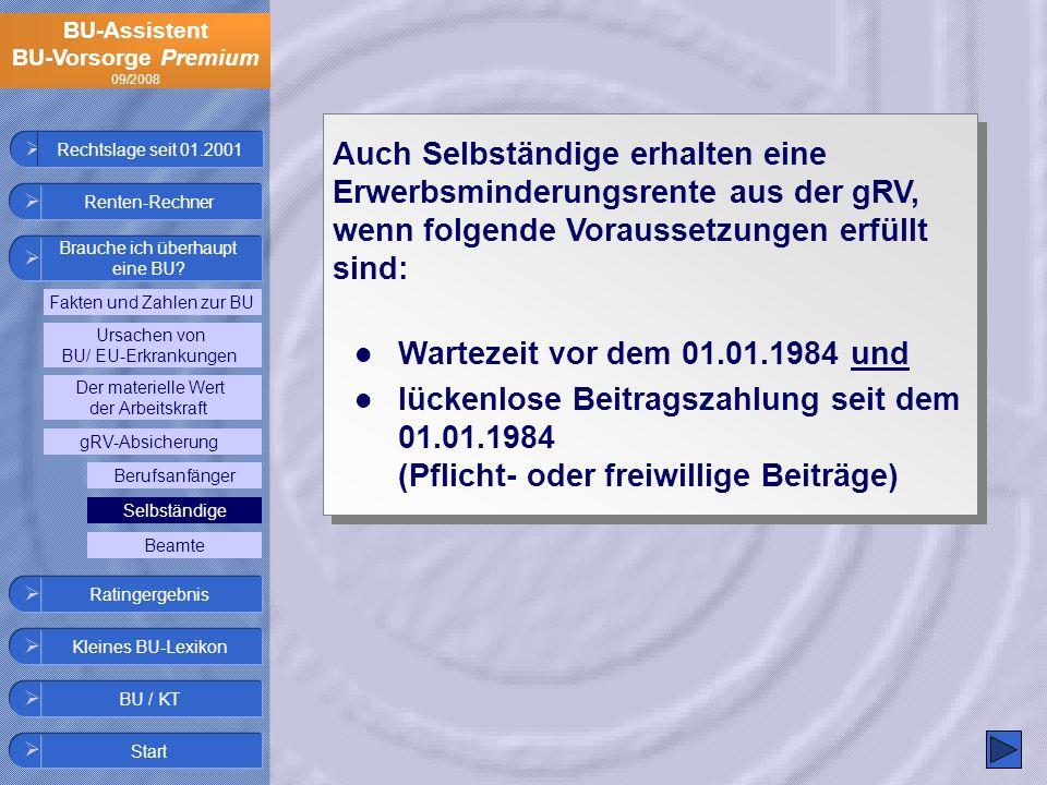 BU-Assistent BU-Vorsorge Premium 09/2008 Auch Selbständige erhalten eine Erwerbsminderungsrente aus der gRV, wenn folgende Voraussetzungen erfüllt sin