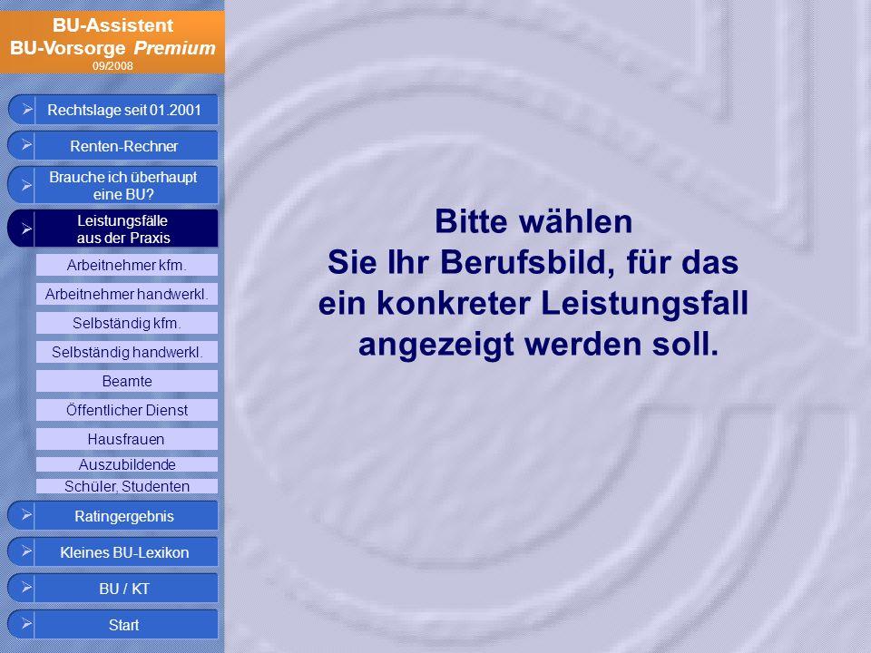 BU-Assistent BU-Vorsorge Premium 09/2008 Rechtslage seit 01.2001 Selbständig handwerkl. Beamte Arbeitnehmer handwerkl. Hausfrauen Auszubildende Öffent