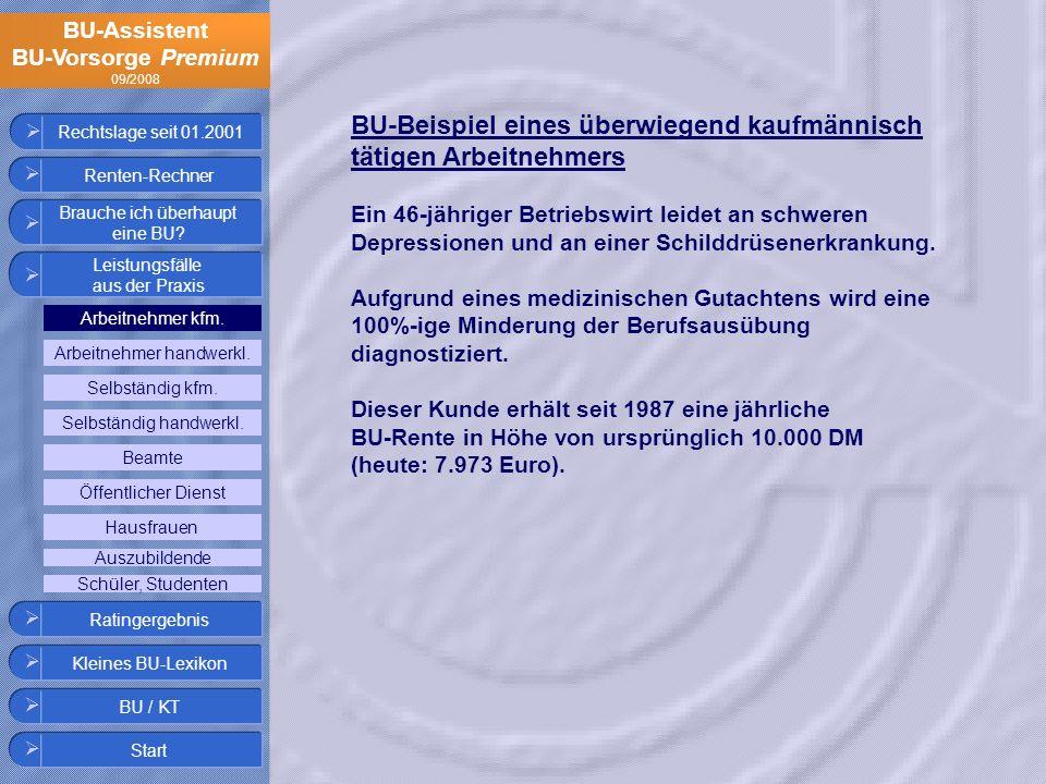BU-Assistent BU-Vorsorge Premium 09/2008 BU-Beispiel eines überwiegend kaufmännisch tätigen Arbeitnehmers Ein 46-jähriger Betriebswirt leidet an schwe