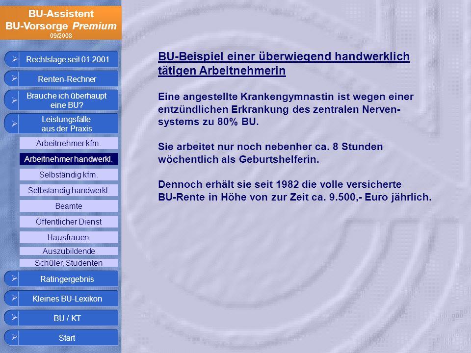 BU-Assistent BU-Vorsorge Premium 09/2008 Rechtslage seit 01.2001 BU-Beispiel einer überwiegend handwerklich tätigen Arbeitnehmerin Eine angestellte Kr