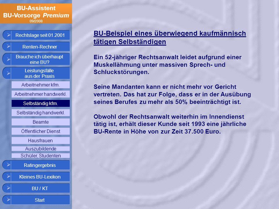 BU-Assistent BU-Vorsorge Premium 09/2008 Rechtslage seit 01.2001 BU-Beispiel eines überwiegend kaufmännisch tätigen Selbständigen Ein 52-jähriger Rech