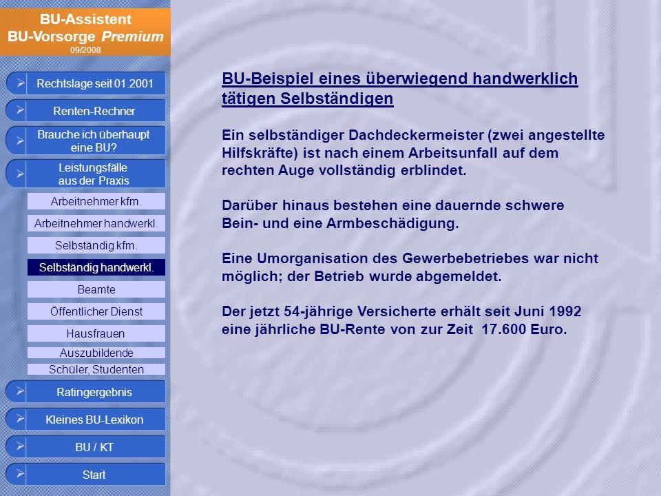 BU-Assistent BU-Vorsorge Premium 09/2008 Rechtslage seit 01.2001 BU-Beispiel eines überwiegend handwerklich tätigen Selbständigen Ein selbständiger Da