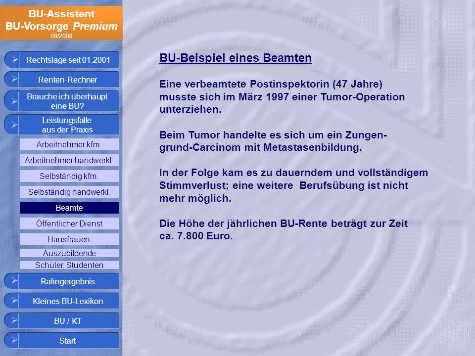 BU-Assistent BU-Vorsorge Premium 09/2008 Rechtslage seit 01.2001 BU-Beispiel eines Beamten Eine verbeamtete Postinspektorin (47 Jahre) musste sich im