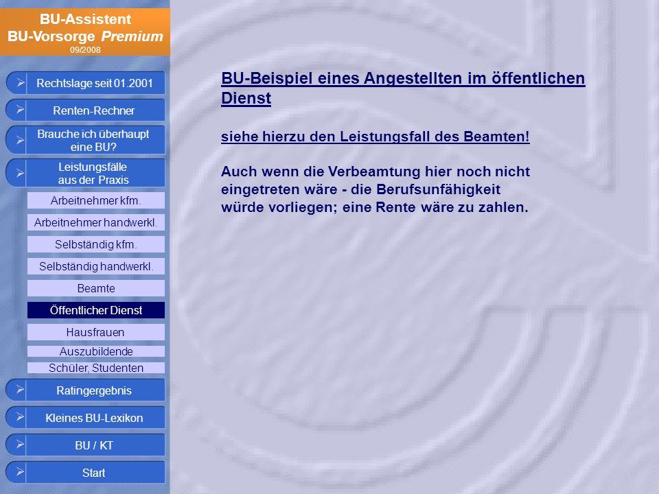 BU-Assistent BU-Vorsorge Premium 09/2008 Rechtslage seit 01.2001 BU-Beispiel eines Angestellten im öffentlichen Dienst siehe hierzu den Leistungsfall