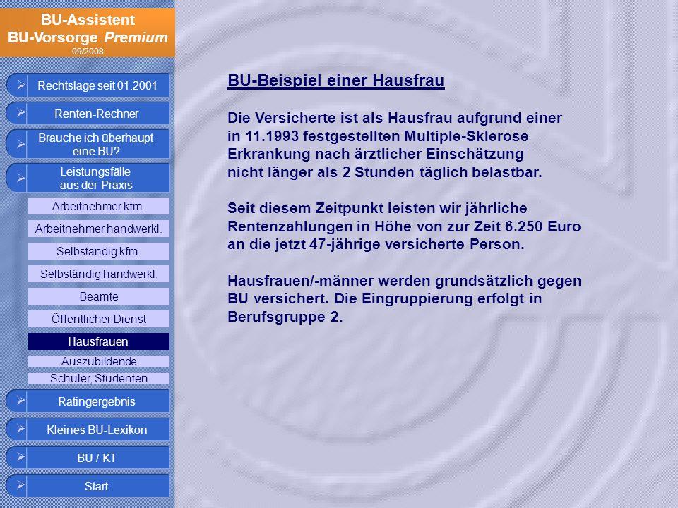 BU-Assistent BU-Vorsorge Premium 09/2008 Rechtslage seit 01.2001 BU-Beispiel einer Hausfrau Die Versicherte ist als Hausfrau aufgrund einer in 11.1993