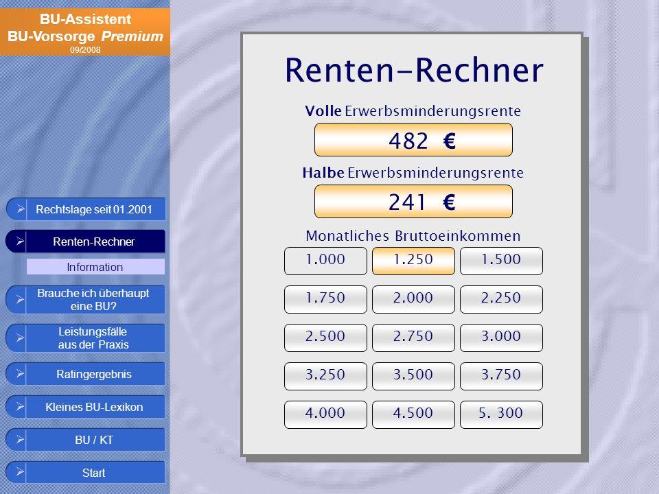 BU-Assistent BU-Vorsorge Premium 09/2008 Volle Erwerbsminderungsrente Renten-Rechner Ratingergebnis Start Leistungsfälle aus der Praxis Kleines BU-Lex