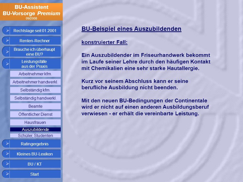 BU-Assistent BU-Vorsorge Premium 09/2008 Rechtslage seit 01.2001 BU-Beispiel eines Auszubildenden konstruierter Fall: Ein Auszubildender im Friseurhan
