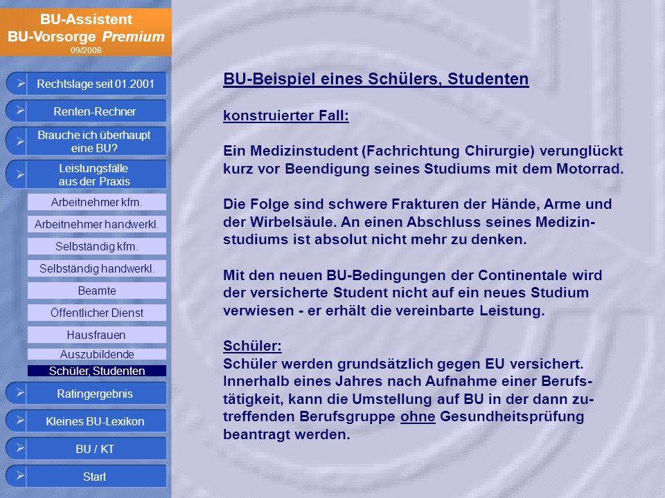 BU-Assistent BU-Vorsorge Premium 09/2008 Rechtslage seit 01.2001 BU-Beispiel eines Schülers, Studenten konstruierter Fall: Ein Medizinstudent (Fachric