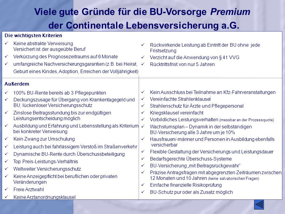 Viele gute Gründe für die BU-Vorsorge Premium der Continentale Lebensversicherung a.G. Die wichtigsten Kriterien Keine abstrakte Verweisung Versichert
