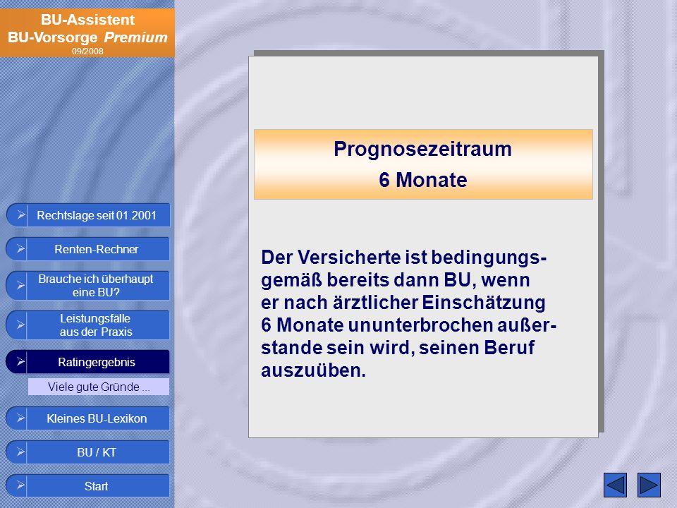 BU-Assistent BU-Vorsorge Premium 09/2008 Rechtslage seit 01.2001 Prognosezeitraum 6 Monate Der Versicherte ist bedingungs- gemäß bereits dann BU, wenn