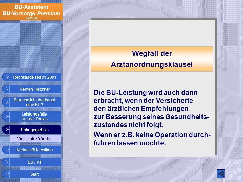 BU-Assistent BU-Vorsorge Premium 09/2008 Rechtslage seit 01.2001 Wegfall der Arztanordnungsklausel Die BU-Leistung wird auch dann erbracht, wenn der V