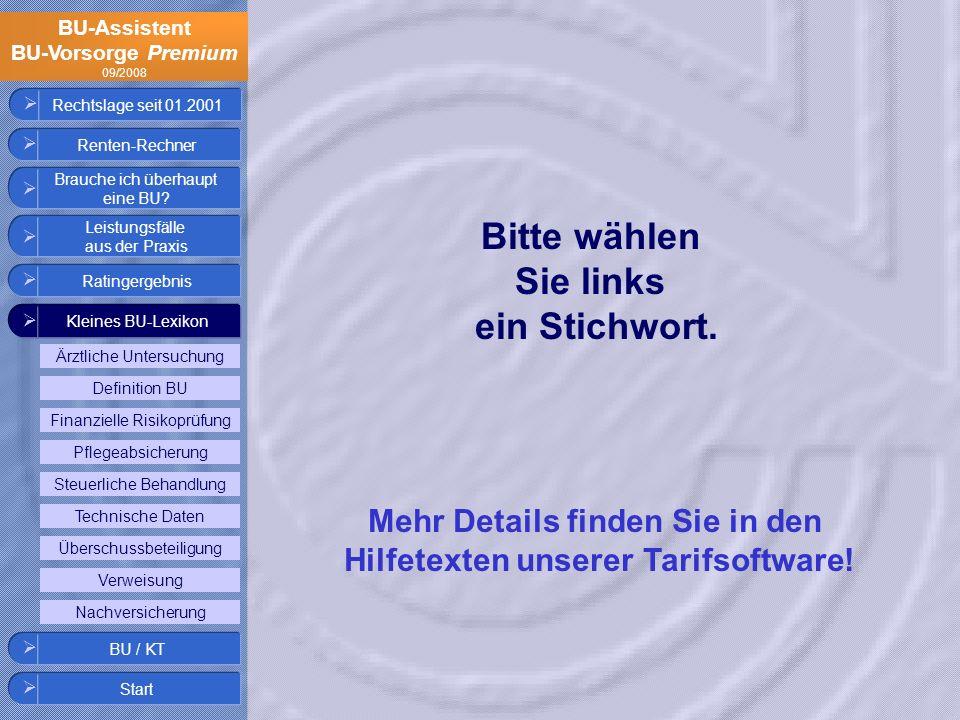 BU-Assistent BU-Vorsorge Premium 09/2008 Finanzielle Risikoprüfung Definition BU Überschussbeteiligung Steuerliche Behandlung Pflegeabsicherung Ärztli