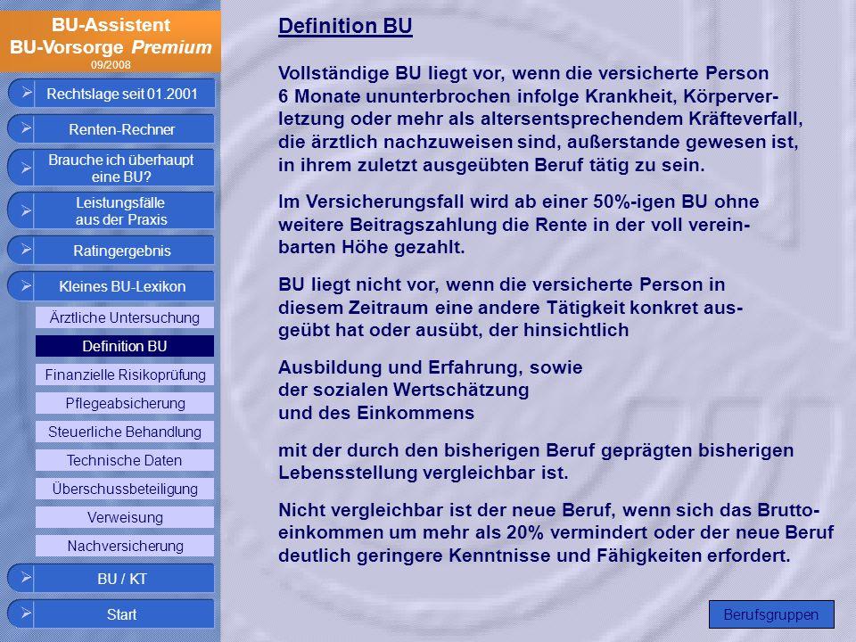 BU-Assistent BU-Vorsorge Premium 09/2008 Rechtslage seit 01.2001 Definition BU Vollständige BU liegt vor, wenn die versicherte Person 6 Monate ununter