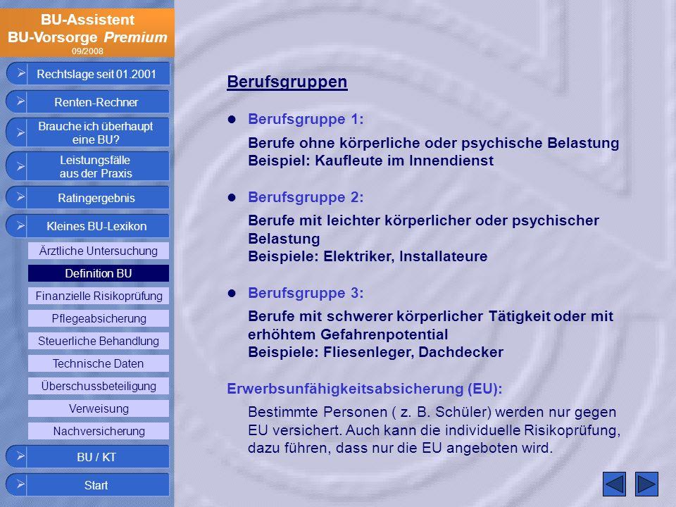 BU-Assistent BU-Vorsorge Premium 09/2008 Rechtslage seit 01.2001 Berufsgruppen Berufsgruppe 1: Berufe ohne körperliche oder psychische Belastung Beisp
