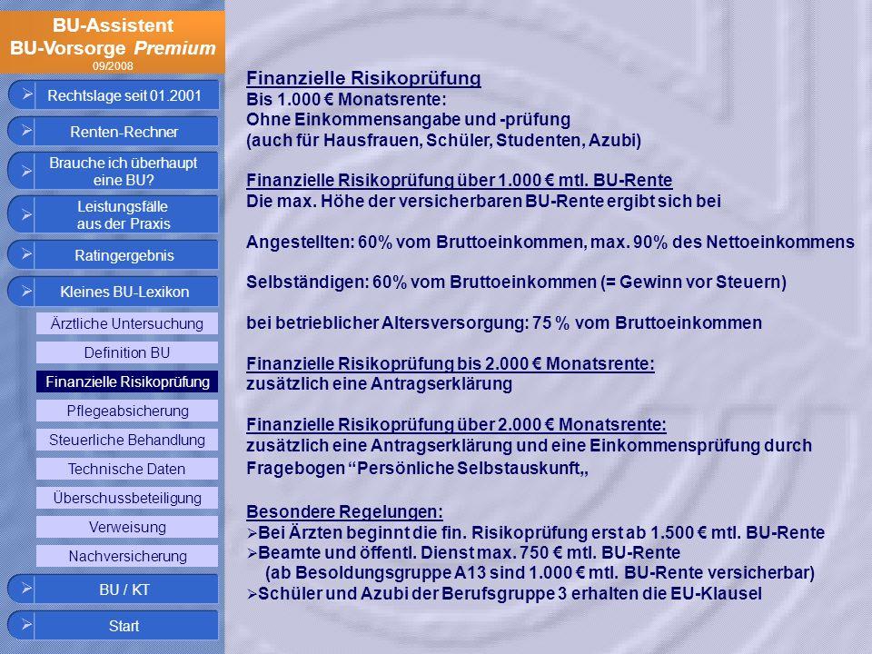 BU-Assistent BU-Vorsorge Premium 09/2008 Rechtslage seit 01.2001 Finanzielle Risikoprüfung Bis 1.000 Monatsrente: Ohne Einkommensangabe und -prüfung (
