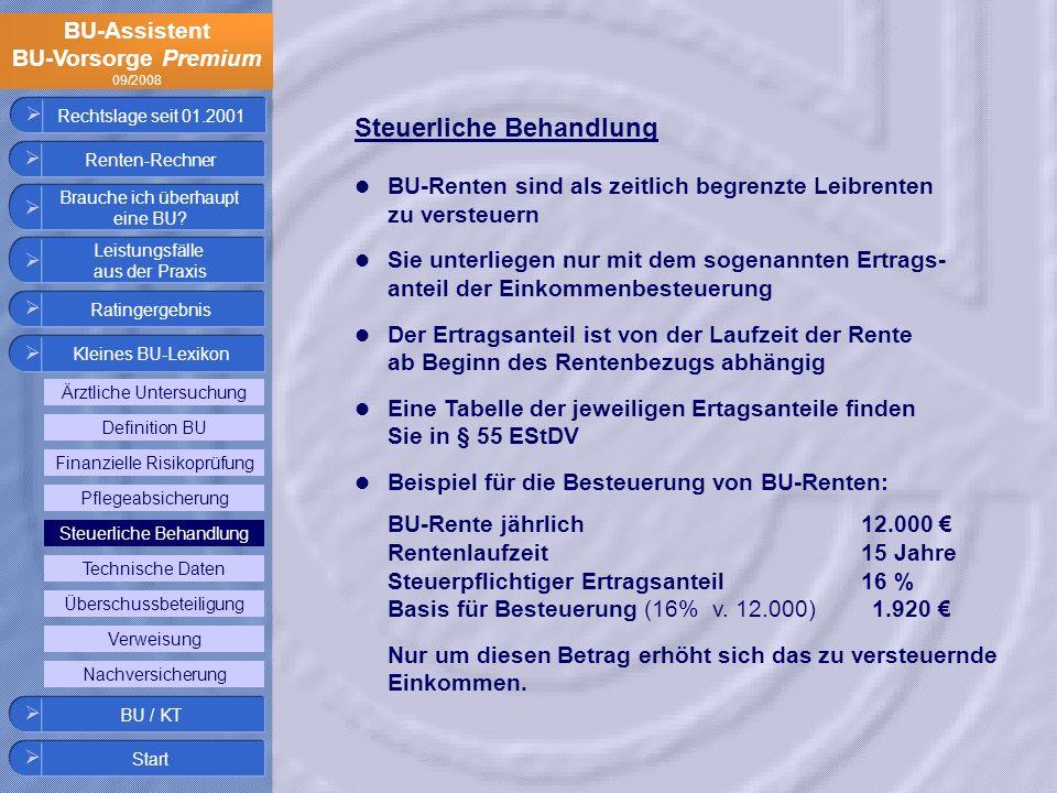 BU-Assistent BU-Vorsorge Premium 09/2008 Rechtslage seit 01.2001 Steuerliche Behandlung BU-Renten sind als zeitlich begrenzte Leibrenten zu versteuern