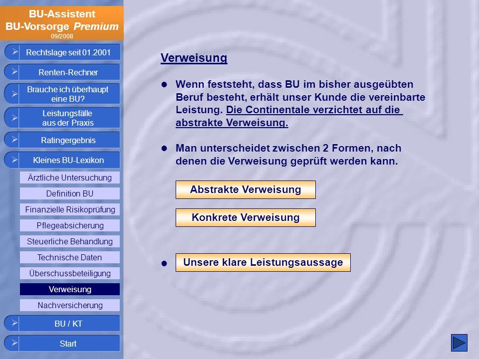 BU-Assistent BU-Vorsorge Premium 09/2008 Rechtslage seit 01.2001 Verweisung Wenn feststeht, dass BU im bisher ausgeübten Beruf besteht, erhält unser K