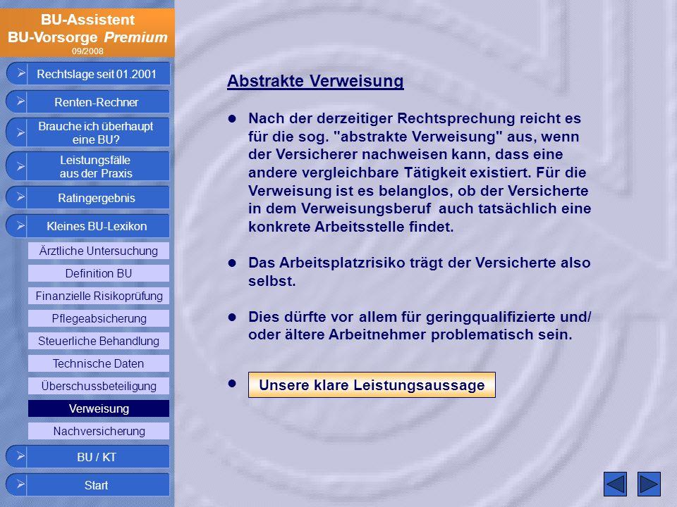 BU-Assistent BU-Vorsorge Premium 09/2008 Rechtslage seit 01.2001 Abstrakte Verweisung Nach der derzeitiger Rechtsprechung reicht es für die sog.