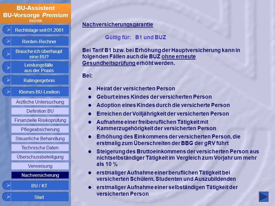 BU-Assistent BU-Vorsorge Premium 09/2008 Rechtslage seit 01.2001 Nachversicherungsgarantie Gültig für: B1 und BUZ Bei Tarif B1 bzw. bei Erhöhung der H