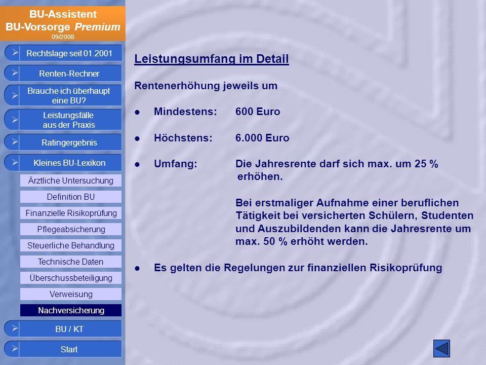 BU-Assistent BU-Vorsorge Premium 09/2008 Rechtslage seit 01.2001 Leistungsumfang im Detail Rentenerhöhung jeweils um Mindestens:600 Euro Höchstens:6.0