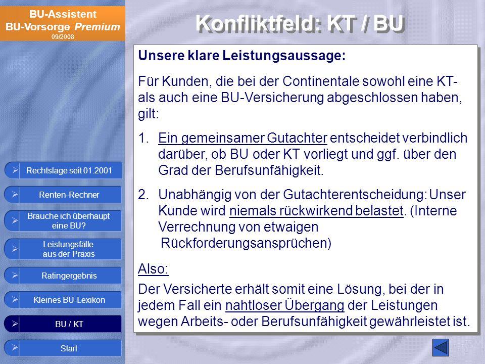 BU-Assistent BU-Vorsorge Premium 09/2008 Rechtslage seit 01.2001 Unsere klare Leistungsaussage: Für Kunden, die bei der Continentale sowohl eine KT- a