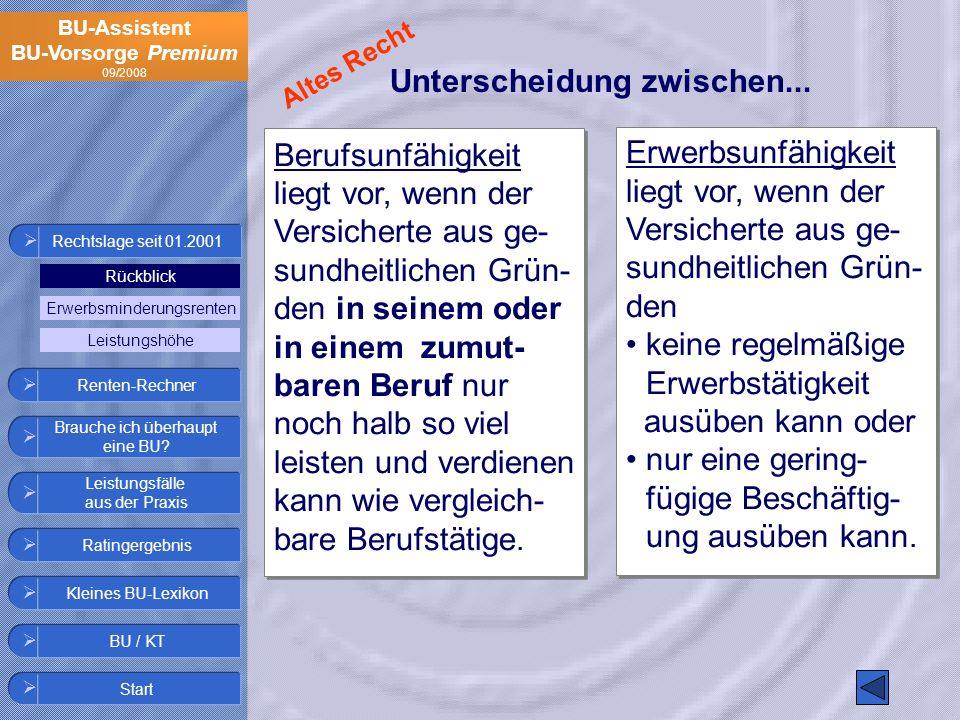 BU-Assistent BU-Vorsorge Premium 09/2008 Berufsunfähigkeit liegt vor, wenn der Versicherte aus ge- sundheitlichen Grün- den in seinem oder in einem zu