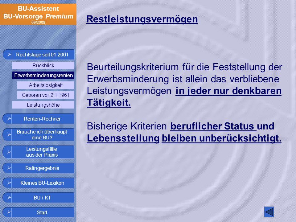 BU-Assistent BU-Vorsorge Premium 09/2008 Restleistungsvermögen Beurteilungskriterium für die Feststellung der Erwerbsminderung ist allein das verblieb
