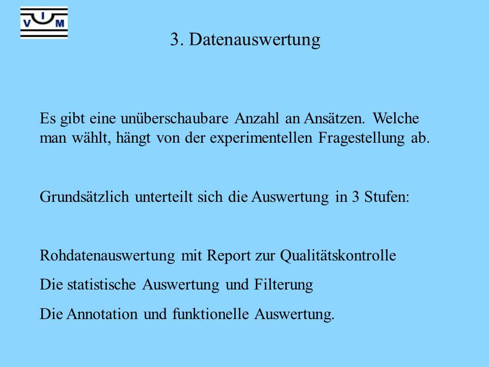 3. Datenauswertung Es gibt eine unüberschaubare Anzahl an Ansätzen. Welche man wählt, hängt von der experimentellen Fragestellung ab. Grundsätzlich un
