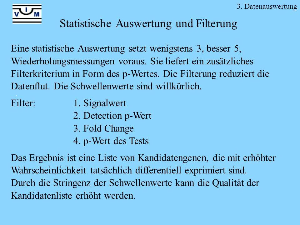 Statistische Auswertung und Filterung Eine statistische Auswertung setzt wenigstens 3, besser 5, Wiederholungsmessungen voraus. Sie liefert ein zusätz