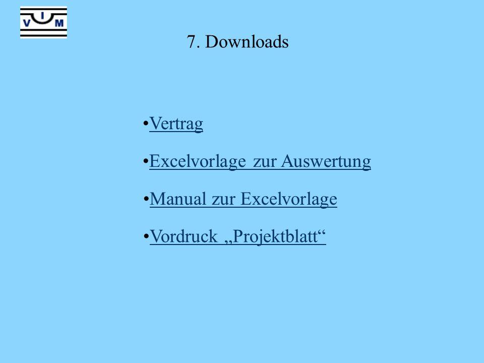 7. Downloads Vertrag Excelvorlage zur Auswertung Manual zur Excelvorlage Vordruck Projektblatt