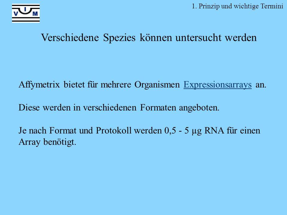 Affymetrix bietet für mehrere Organismen Expressionsarrays an.Expressionsarrays Diese werden in verschiedenen Formaten angeboten. Je nach Format und P