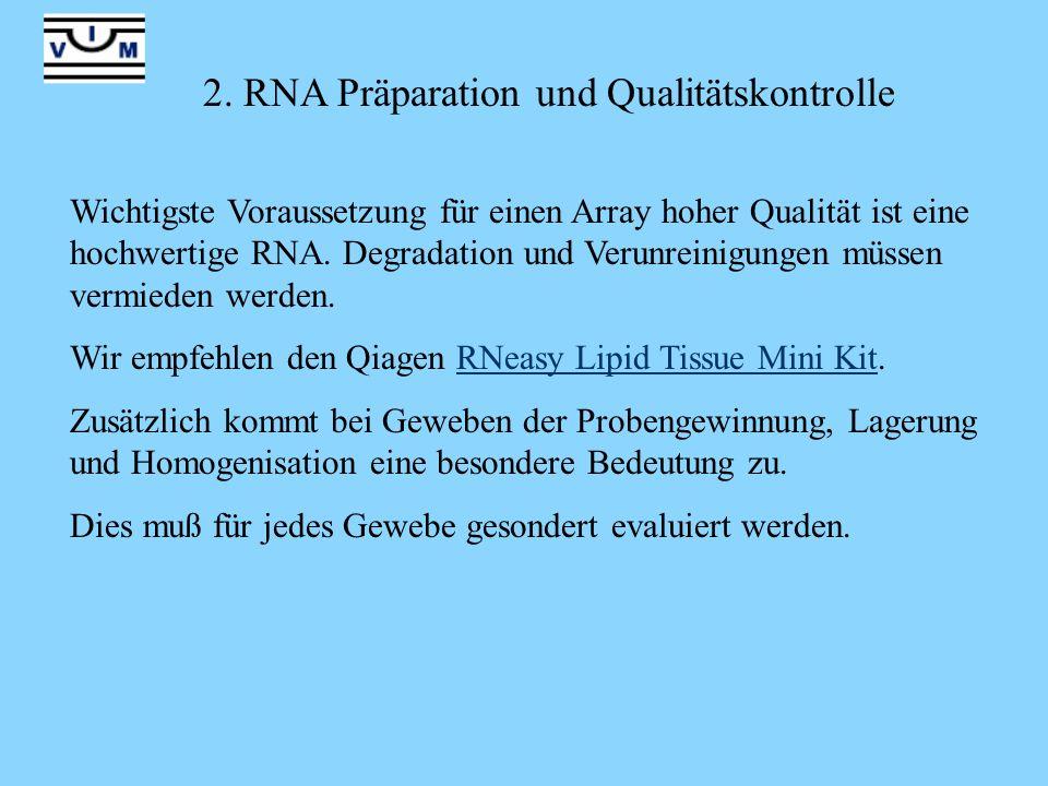 2. RNA Präparation und Qualitätskontrolle Wichtigste Voraussetzung für einen Array hoher Qualität ist eine hochwertige RNA. Degradation und Verunreini