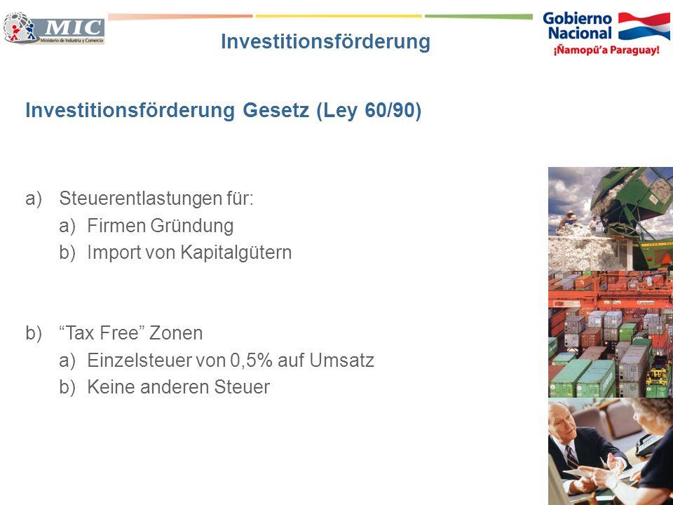 Investitionsförderung Gesetz (Ley 60/90) a)Steuerentlastungen für: a)Firmen Gründung b)Import von Kapitalgütern b)Tax Free Zonen a)Einzelsteuer von 0,
