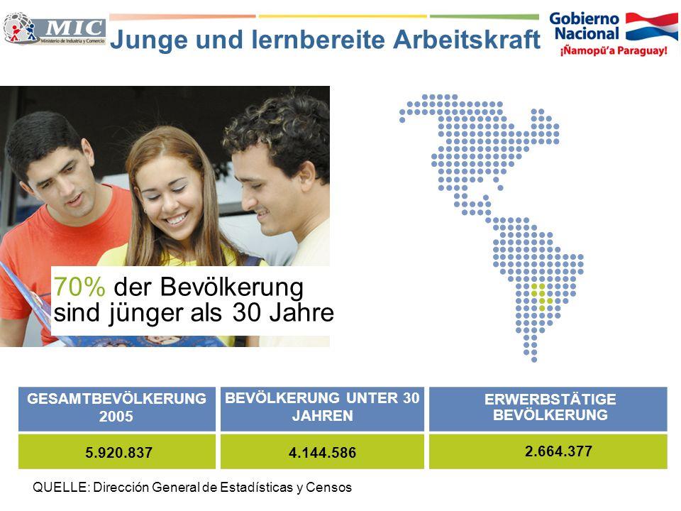 Das Land mit der grössten Menge verfügbarer Energie Reichliche Elektrizitätsressourcen QUELLE: Administración Nacional de Electricidad JAHRANGEBOT (GW)NACHFRAGE (GW)VERFÜGBARKEIT (GW) 20057.4101.2666.045 20109.1101.5317.579 0 10.000 8.000 6.000 4.000 2.000 20101985 1990 19952005 2000 Nachfrage Verfügbarkeit