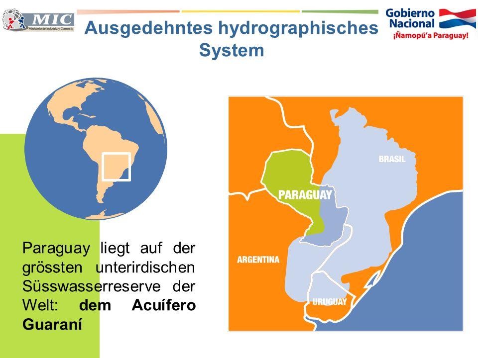 Paraguay liegt auf der grössten unterirdischen Süsswasserreserve der Welt: dem Acuífero Guaraní Ausgedehntes hydrographisches System
