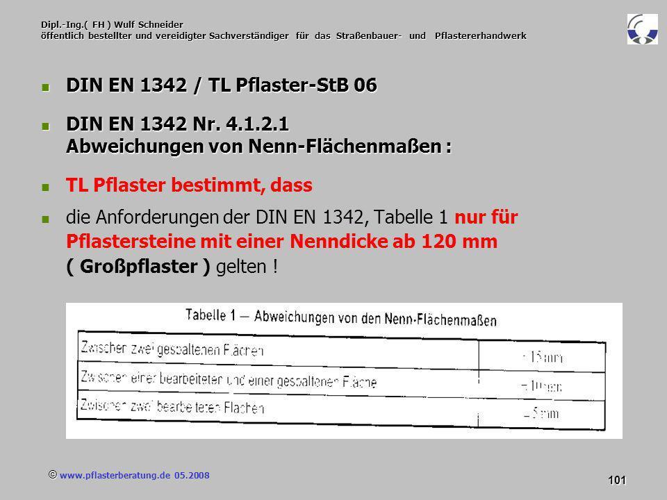 © www.pflasterberatung.de 05.2008 101 Dipl.-Ing.( FH ) Wulf Schneider öffentlich bestellter und vereidigter Sachverständiger für das Straßenbauer- und