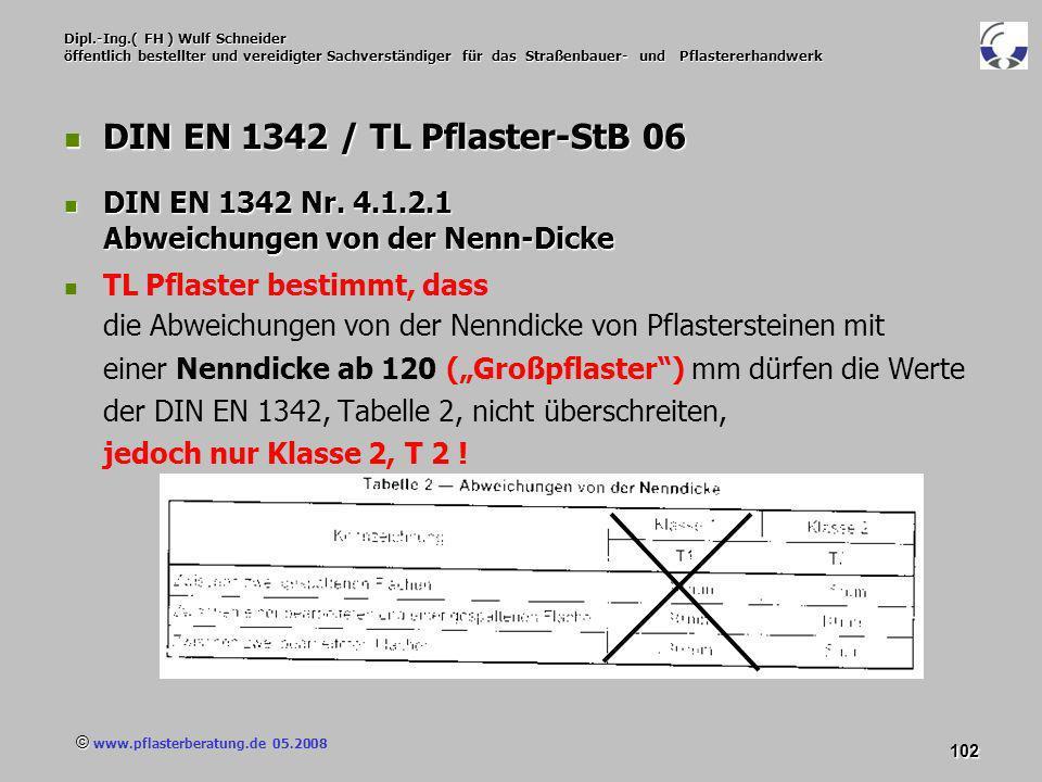 © www.pflasterberatung.de 05.2008 102 Dipl.-Ing.( FH ) Wulf Schneider öffentlich bestellter und vereidigter Sachverständiger für das Straßenbauer- und