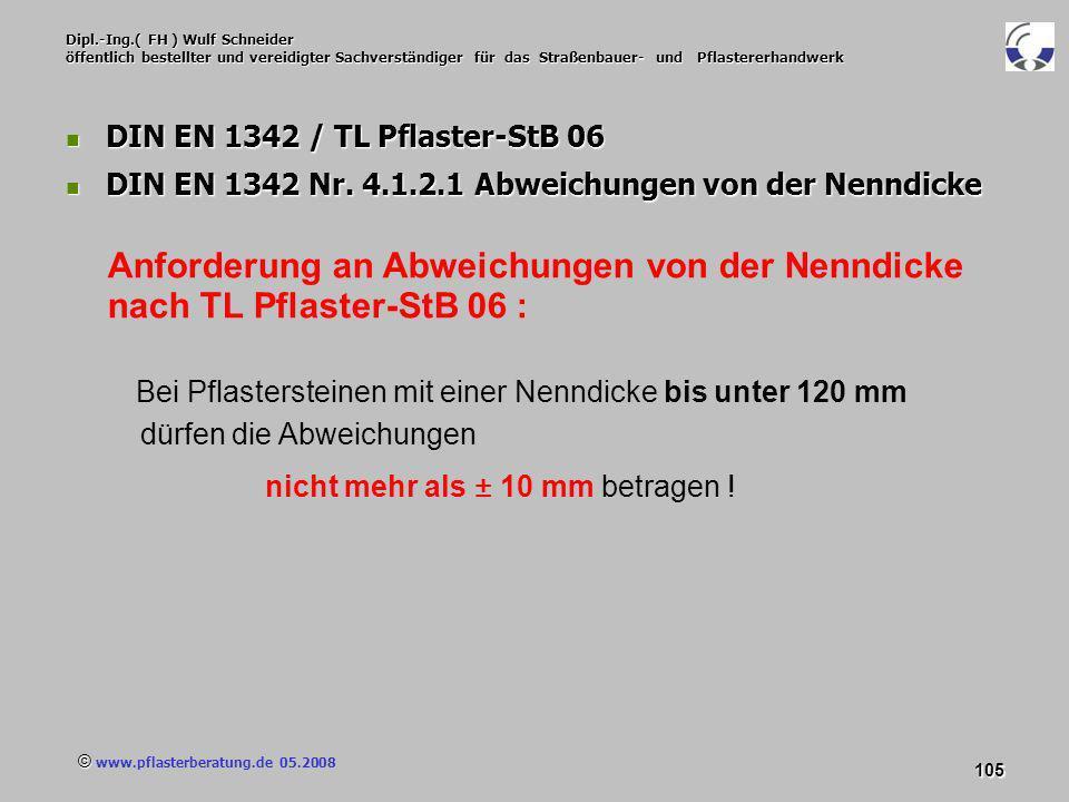 © www.pflasterberatung.de 05.2008 105 Dipl.-Ing.( FH ) Wulf Schneider öffentlich bestellter und vereidigter Sachverständiger für das Straßenbauer- und