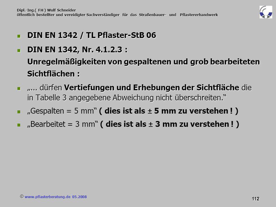 © www.pflasterberatung.de 05.2008 112 Dipl.-Ing.( FH ) Wulf Schneider öffentlich bestellter und vereidigter Sachverständiger für das Straßenbauer- und