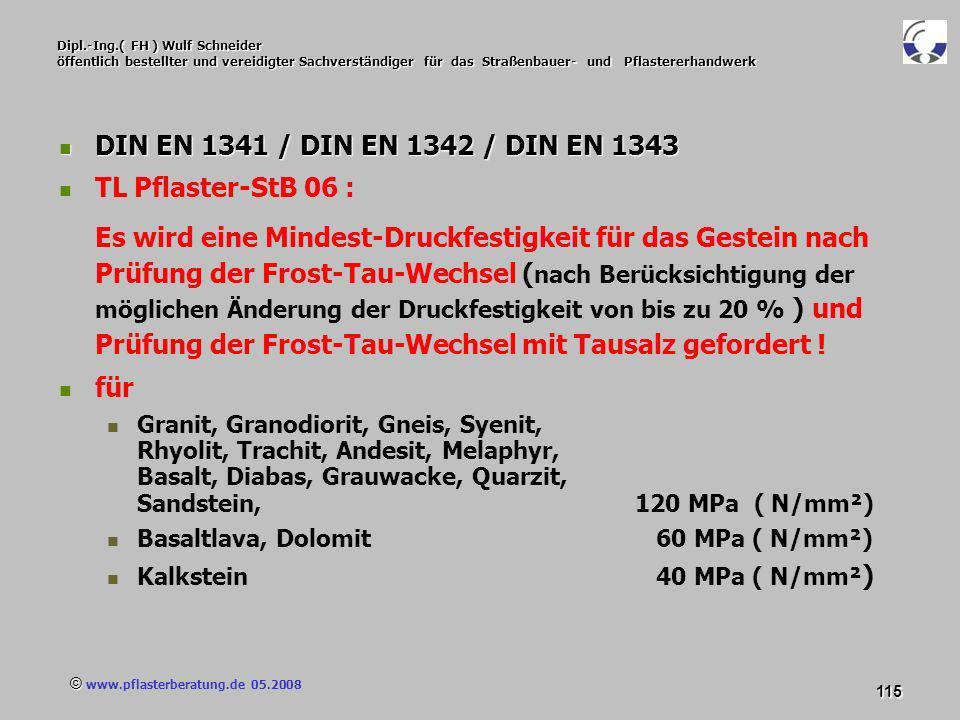 © www.pflasterberatung.de 05.2008 115 Dipl.-Ing.( FH ) Wulf Schneider öffentlich bestellter und vereidigter Sachverständiger für das Straßenbauer- und
