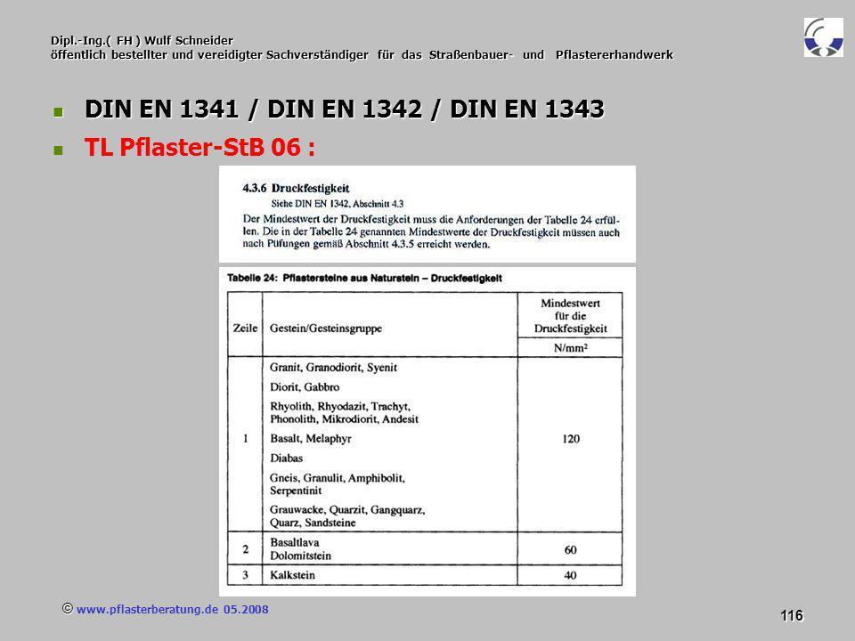 © www.pflasterberatung.de 05.2008 116 Dipl.-Ing.( FH ) Wulf Schneider öffentlich bestellter und vereidigter Sachverständiger für das Straßenbauer- und