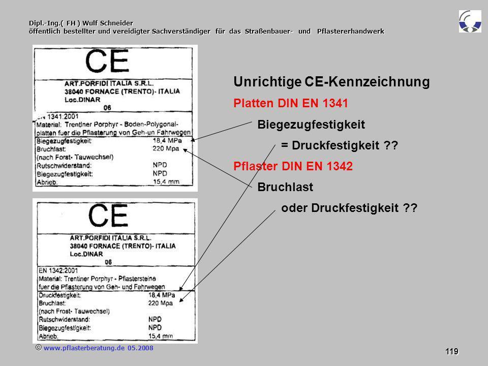 © www.pflasterberatung.de 05.2008 119 Dipl.-Ing.( FH ) Wulf Schneider öffentlich bestellter und vereidigter Sachverständiger für das Straßenbauer- und