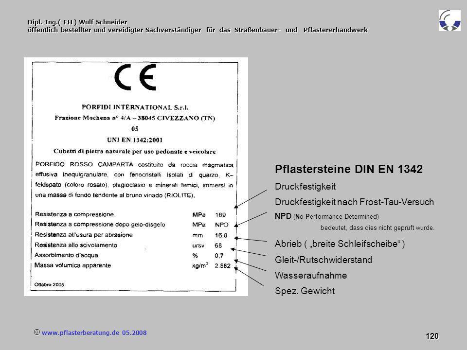 © www.pflasterberatung.de 05.2008 120 Dipl.-Ing.( FH ) Wulf Schneider öffentlich bestellter und vereidigter Sachverständiger für das Straßenbauer- und