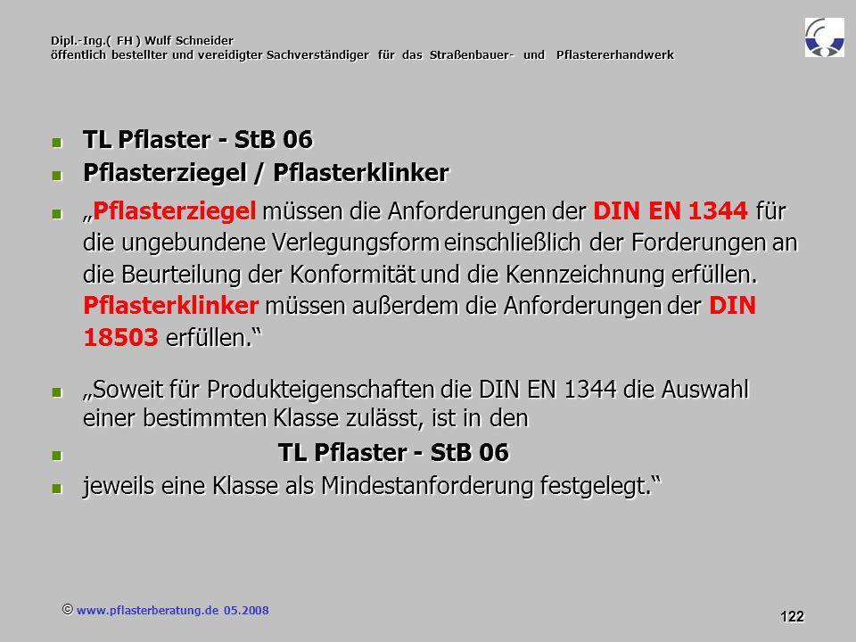 © www.pflasterberatung.de 05.2008 122 Dipl.-Ing.( FH ) Wulf Schneider öffentlich bestellter und vereidigter Sachverständiger für das Straßenbauer- und